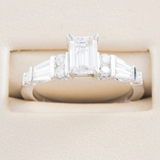 14kt Diamond Engagement Ring With Emerald Cut Center Diamond