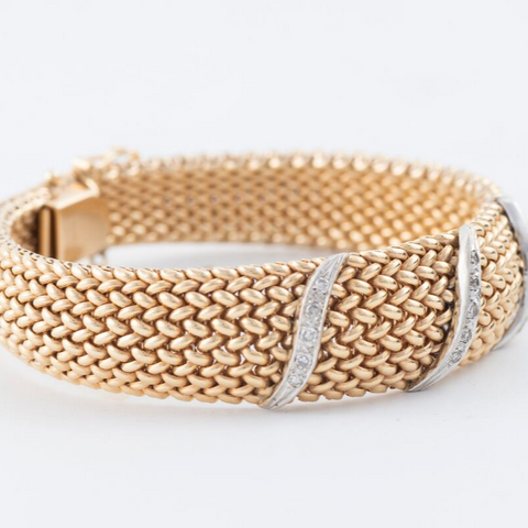 14kt Diamond Yellow & White Gold Mesh Bracelet .45ct