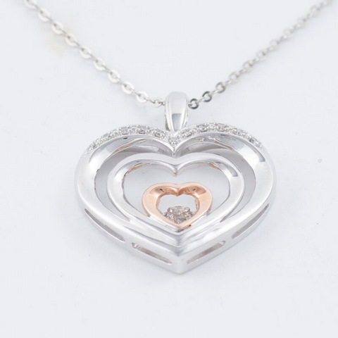 14kt Diamond Yellow & Rose Gold Heart Pendant With Chain