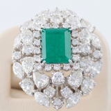 Vintage Platinum Genuine 5ct Green Emerald and Diamond Ring