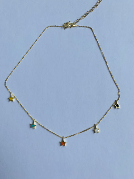 Multi color stars necklace
