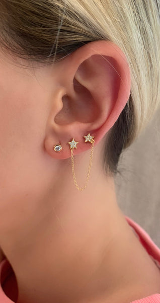 Mini doble star earring