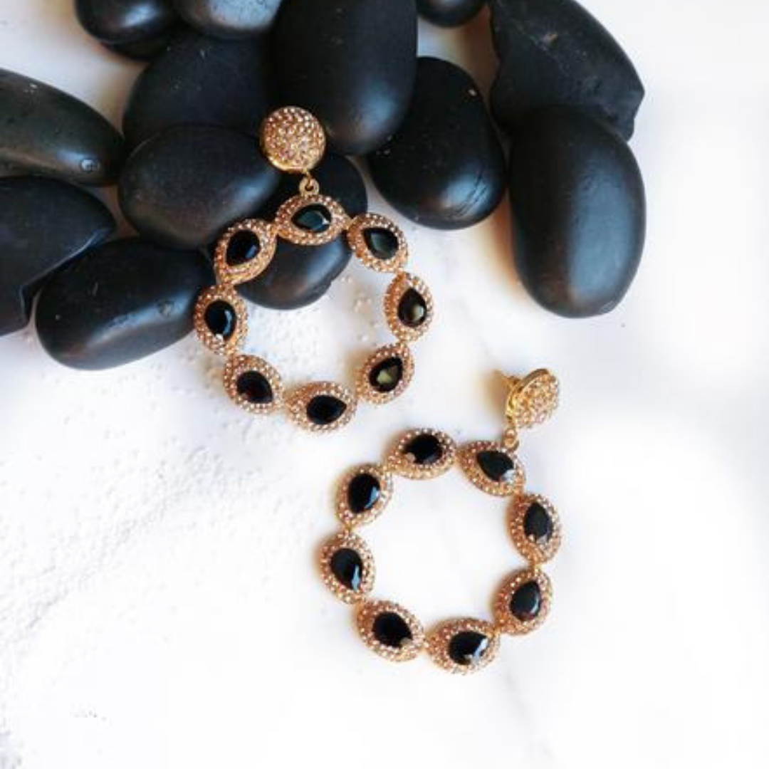Sunset Earrings- Black - Statement jewellery by Radiant Riviera
