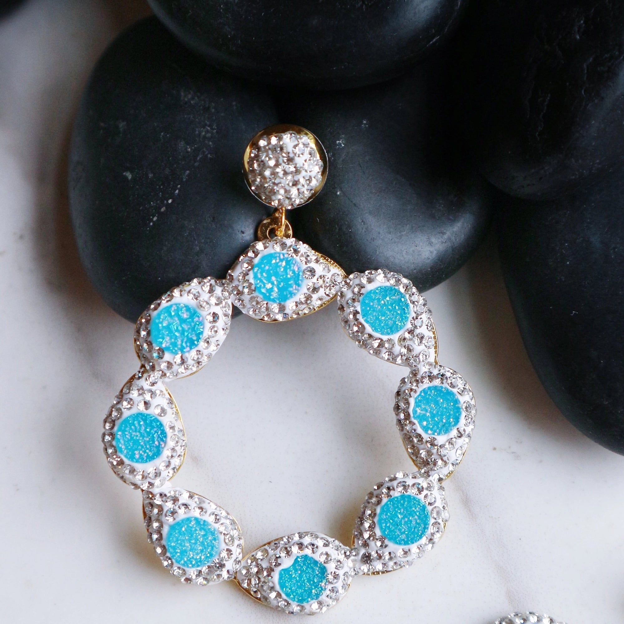 Sunset Earrings- Sparkling Blue - Statement jewellery by Radiant Riviera
