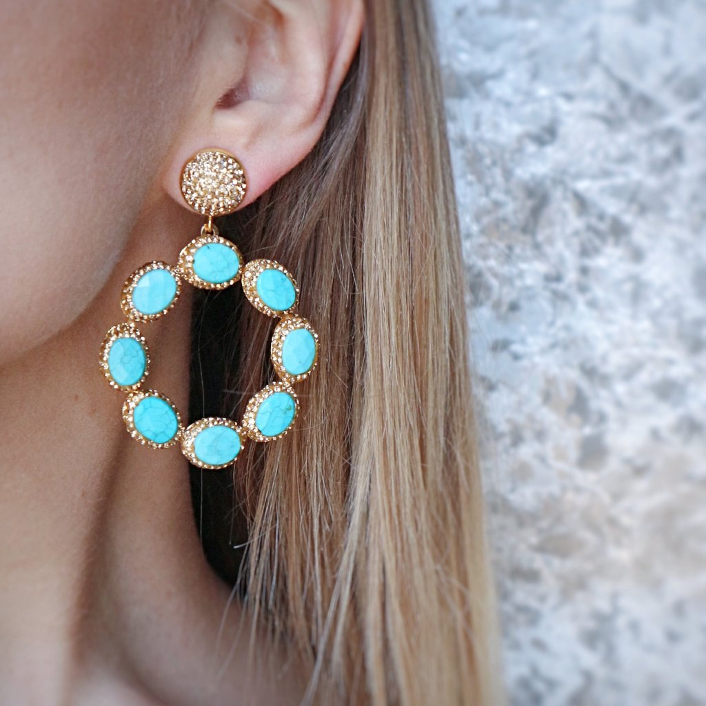 Sunset Earrings- Aqua - Statement jewellery by Radiant Riviera