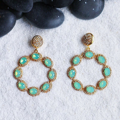 Sunset Earrings - Green - Statement jewellery by Radiant Riviera