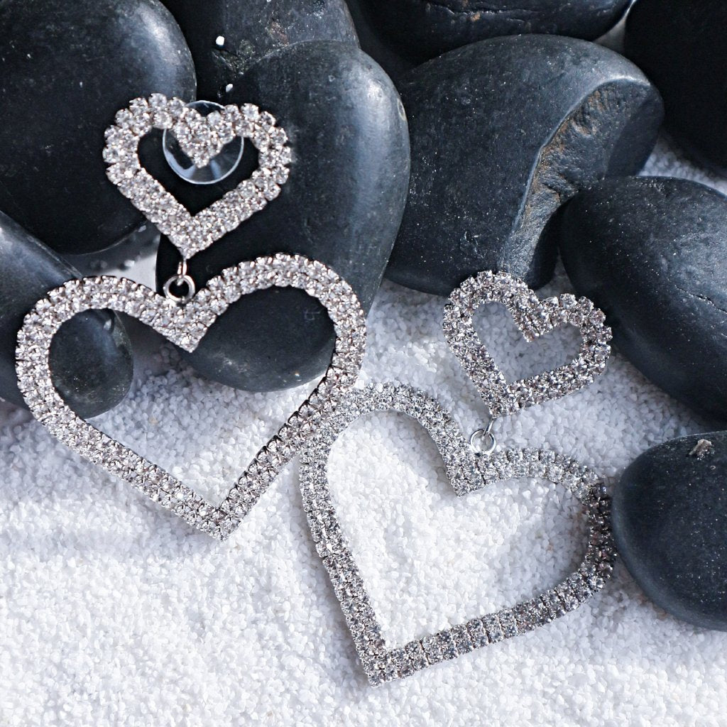Double Heart Earrings - Statement jewellery by Radiant Riviera