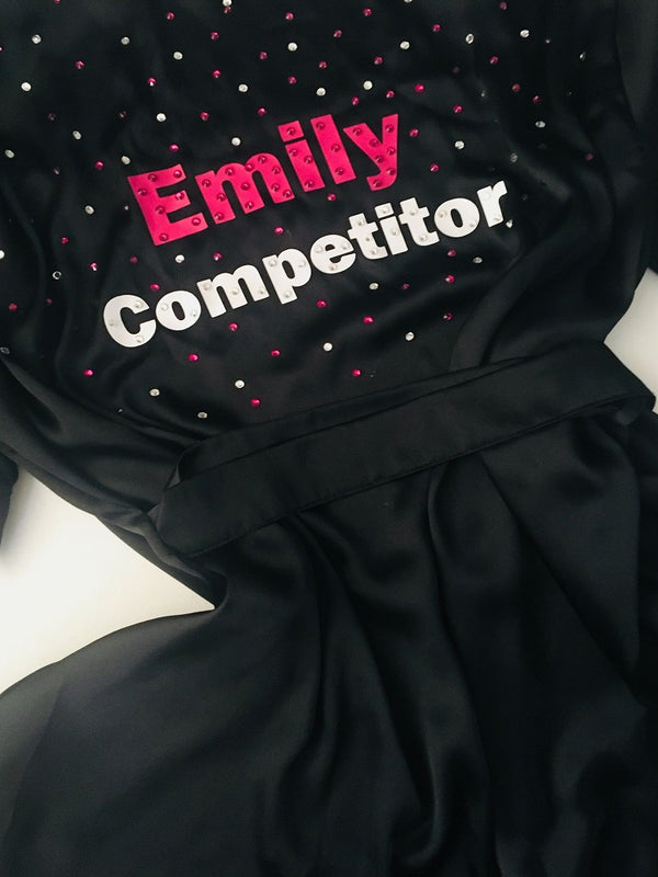 CUSTOM TEXT BLACK Satin Competition Robe Gown - Selina Bikini