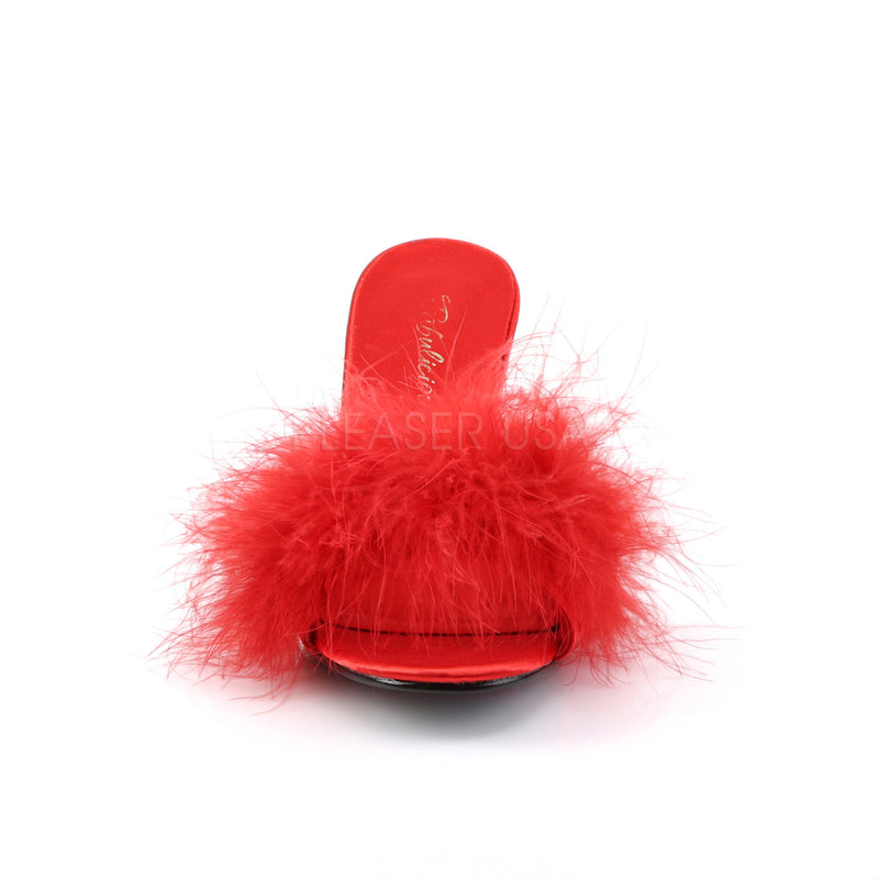 PLEASER AMOUR 03 Red Satin-Fur HEELS - Selina Bikini