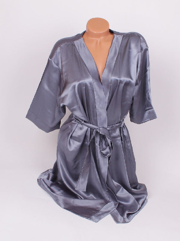 CUSTOM TEXT Gentle GREY Satin Backstage Competition Robe Gown - Selina Bikini