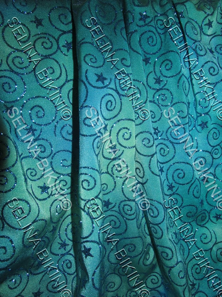 #006 NEW Teal and Light Green with Glitter Swirls Spandex - Selina Bikini