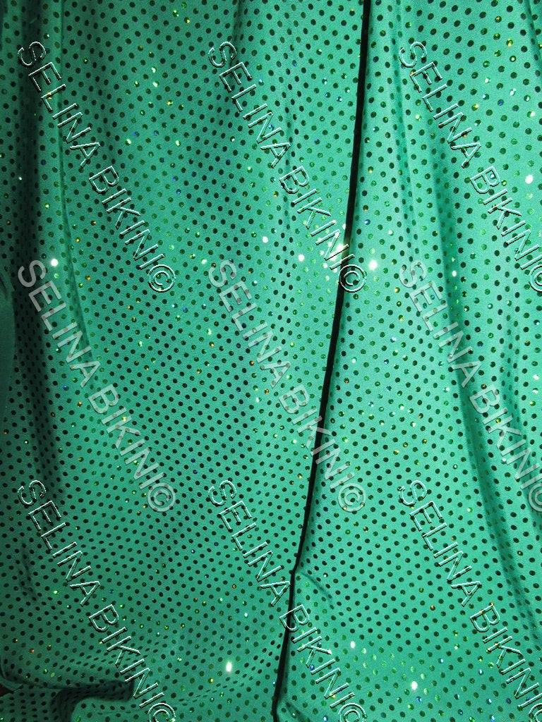 #015 Emerald Green Faux Sequin Metallic Dots Spandex - Selina Bikini