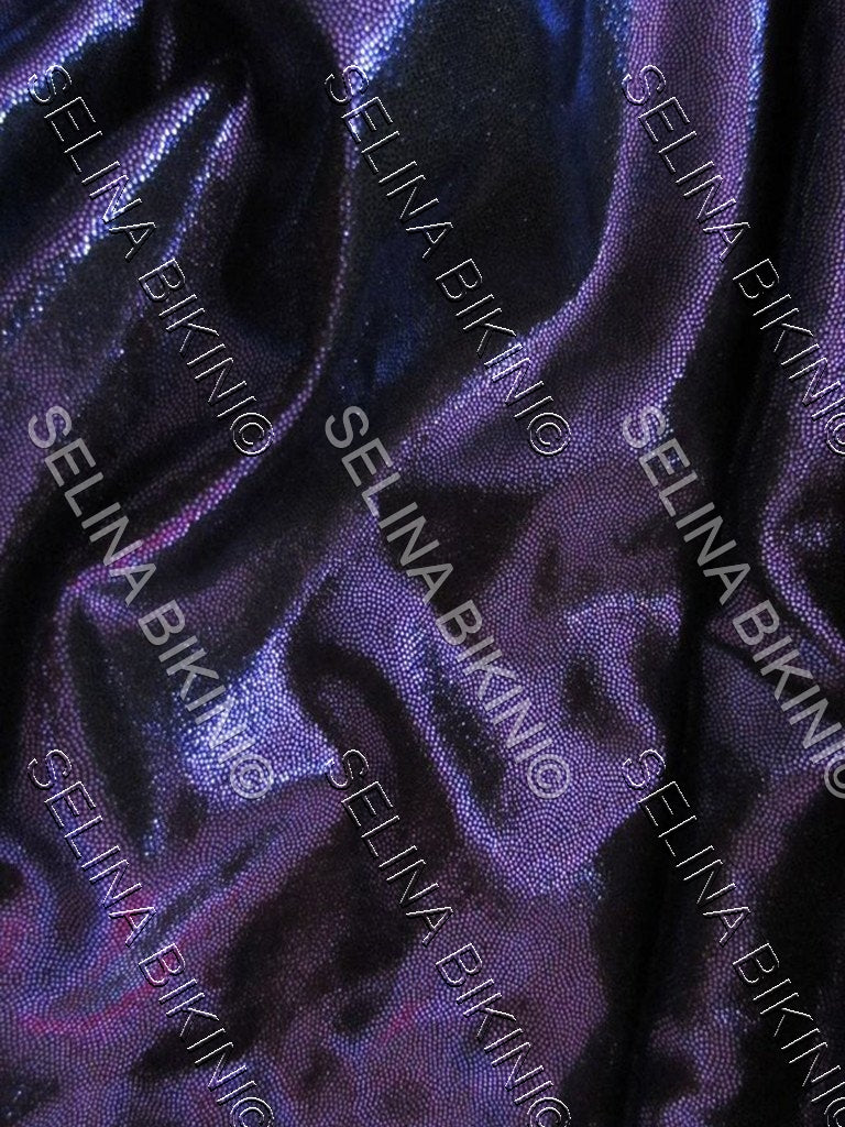 #0191 NEW Dark Purple On Black Base Metallic US Spandex - Selina Bikini