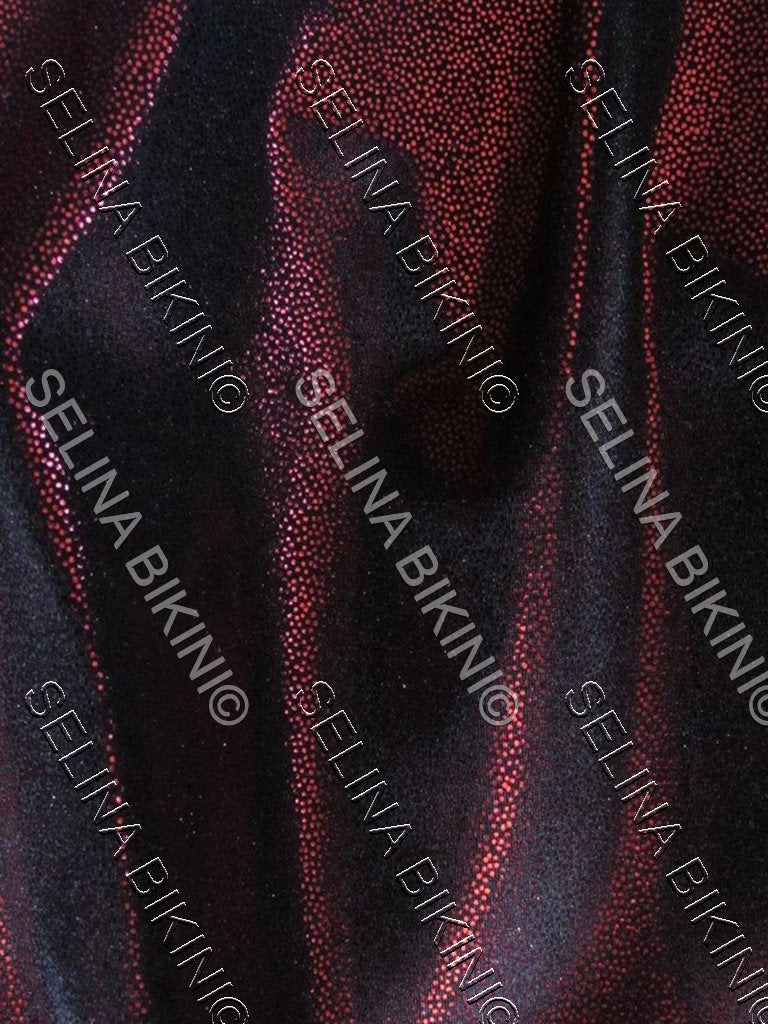 #0192 NEW Dark Red On Black Base Metallic US Spandex - Selina Bikini