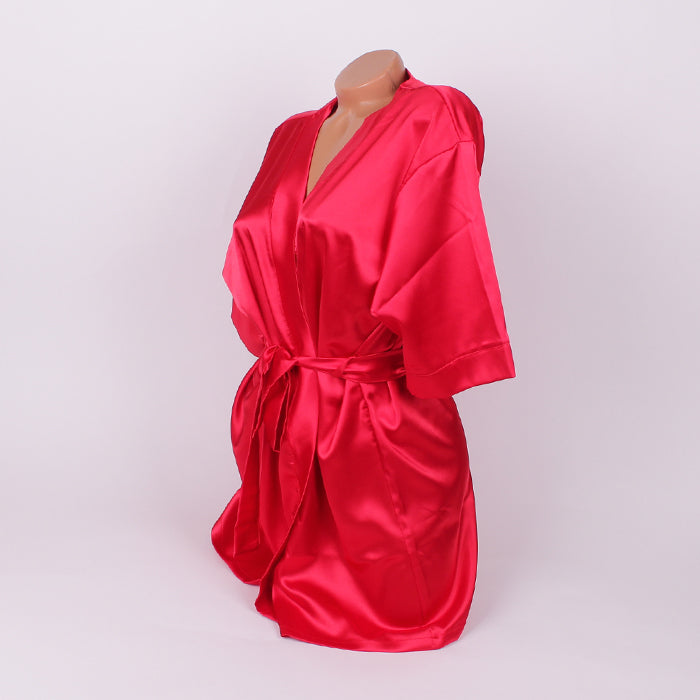CUSTOM TEXT Glorious RED Satin Competition Robe Gown - Selina Bikini