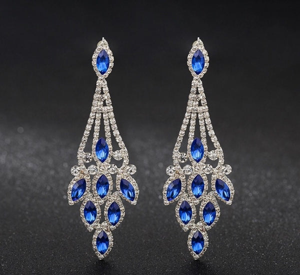 BLUE BELLA LONG CRYSTAL EARRINGS - Selina Bikini