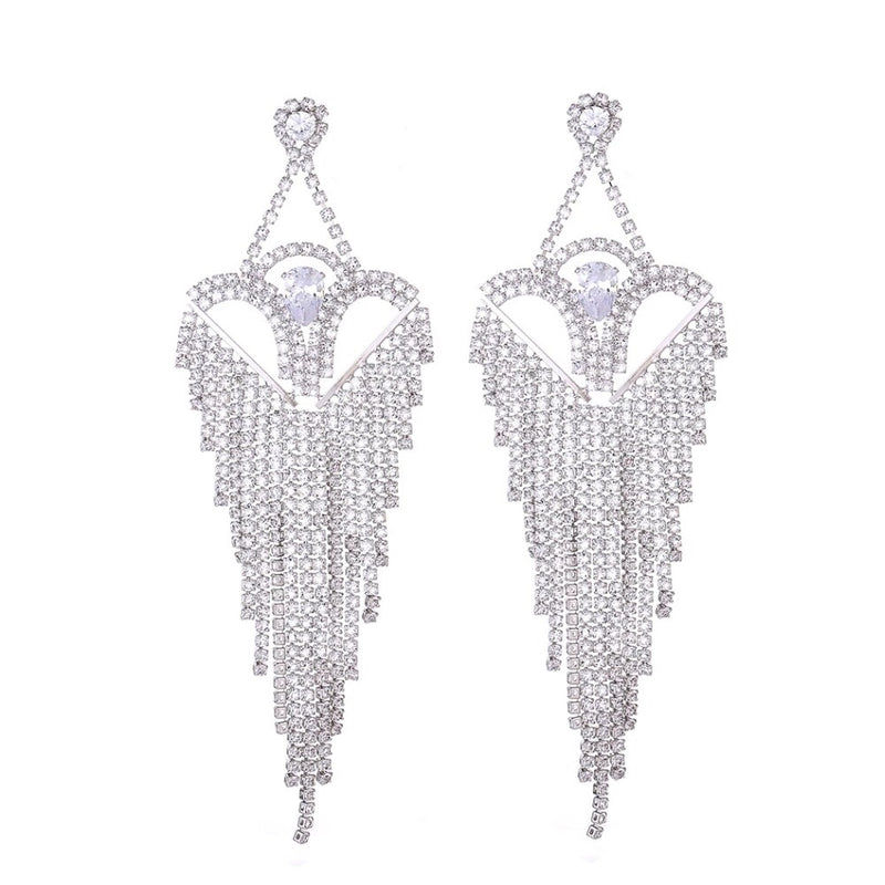 TANITA CRYSTAL LONG EARRINGS - Selina Bikini