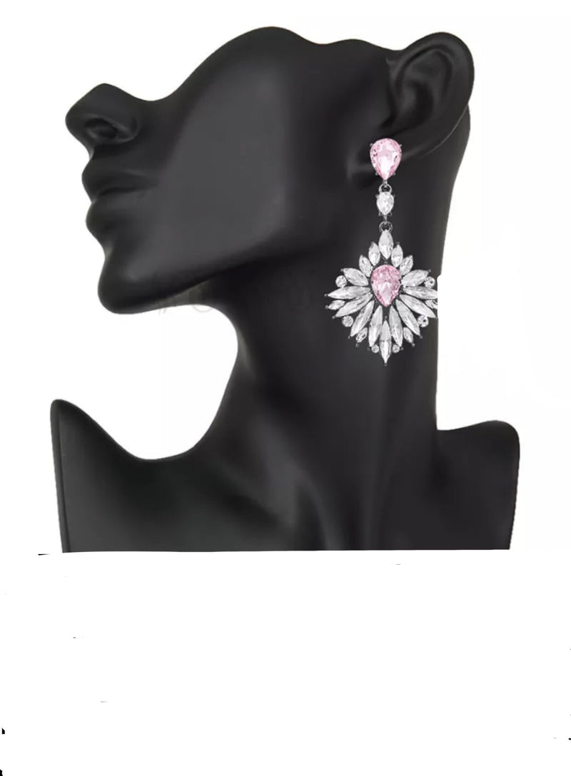 CRYSTALINA SILVER PINK DROP EARRINGS - Selina Bikini