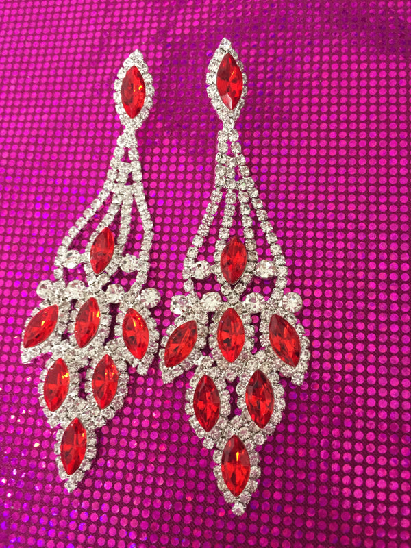 RED BELLA CRYSTAL EARRINGS - Selina Bikini