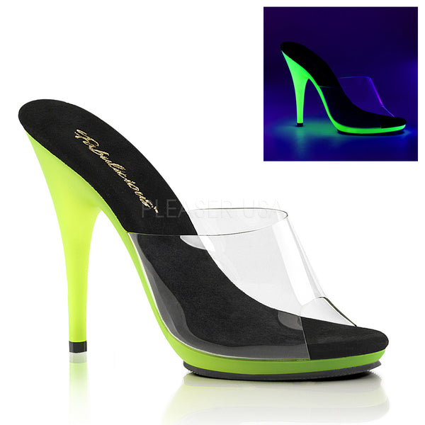 a408402cee6 PLEASER POISE 501UV CLEAR NEON LIME HEELS