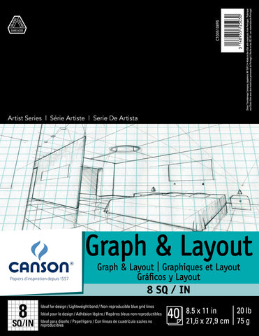 Graph & Layout Paper Pad 8.5 x 11""