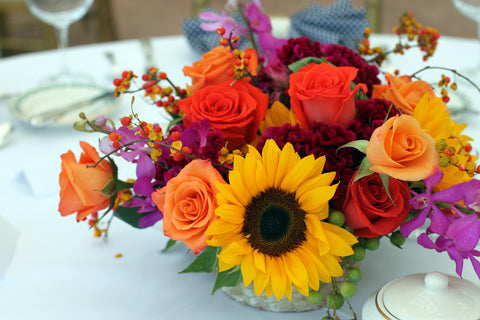 bright summer arrangement by pittsburgh event florist - cuttings