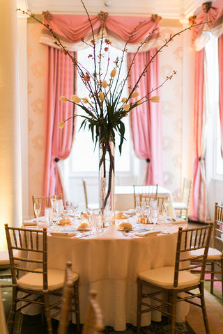 tulip & cherry blossom centerpiece at bedford springs by sewickley event florist