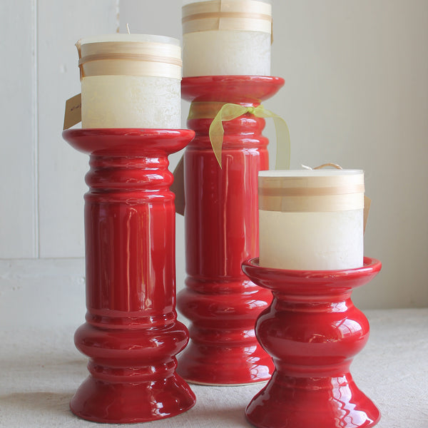 ceramic candlesticks from cuttings' home collection in sewickley