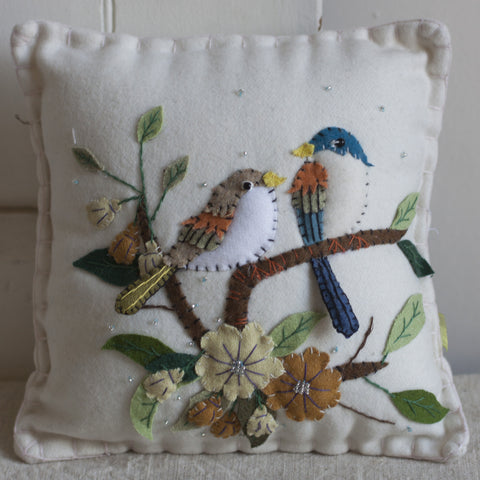 Bird & Leaf Felted Pillow