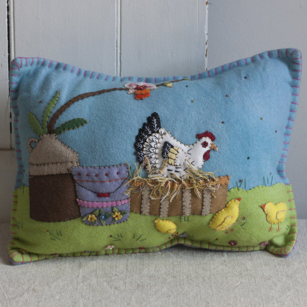 Hen & Chick Felted Pillow