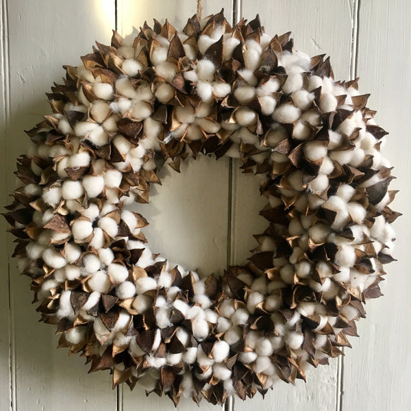 Cotton & Sweetgum Wreath
