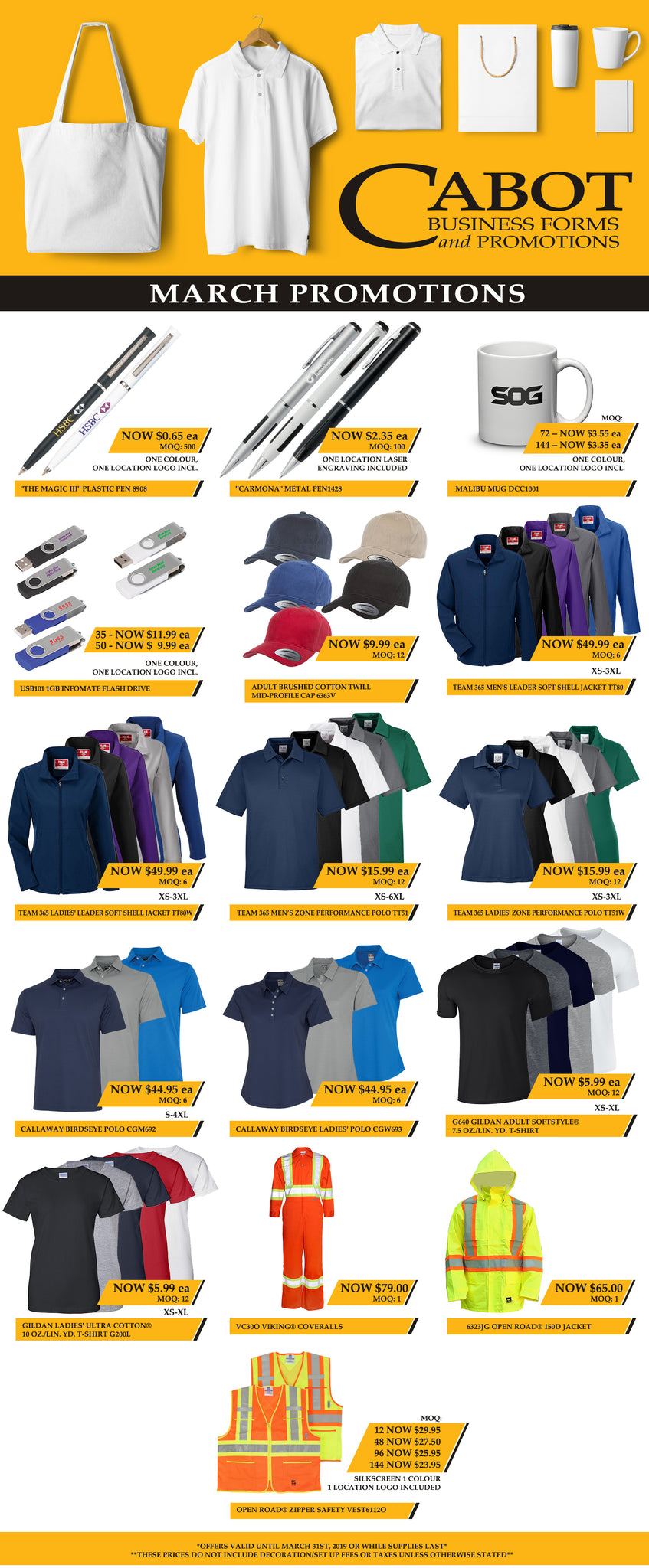 Cabot Business Forms and Promotions March Specials