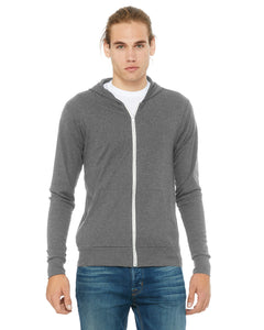 Triblend grey zip up sweater