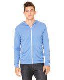 Triblend light blue zip up sweater