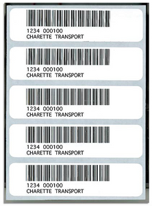 Five A8A Bar Code Labels Black Ink