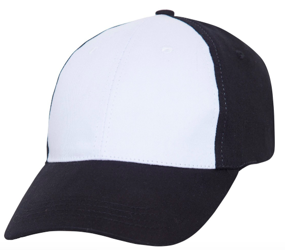 Black baseball cap with white front panel
