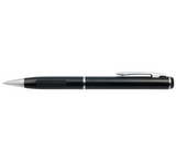 Black Metal Pen with Silver Clip Side View