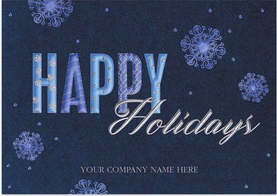 Blue toned Happy Holidays Card