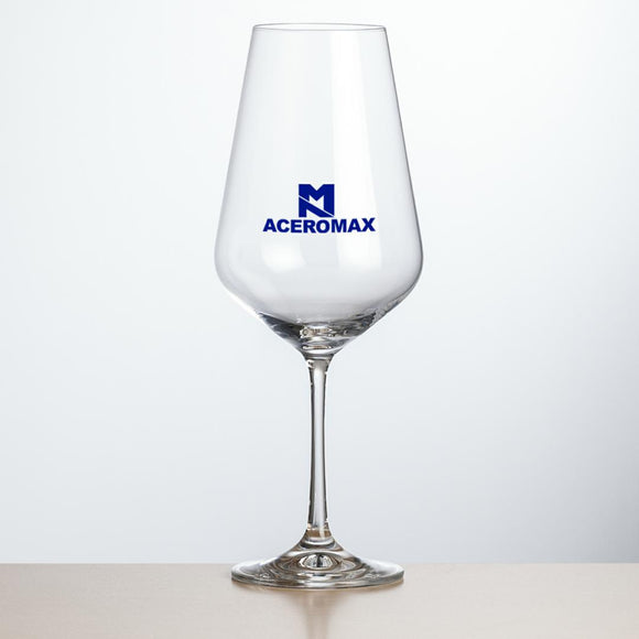 Large red wine glass with logo
