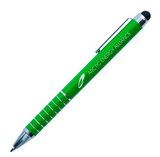 Green metal pen with stylus