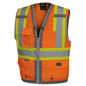 HI-VIZ MESH BACK ZIP FRONT SURV. SAFETY VEST - 300D OX. POLY - HV ORANGE