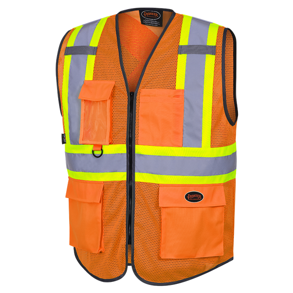 HI-VIZ ZIPPER FRONT MESH SAFETY VEST - ORANGE