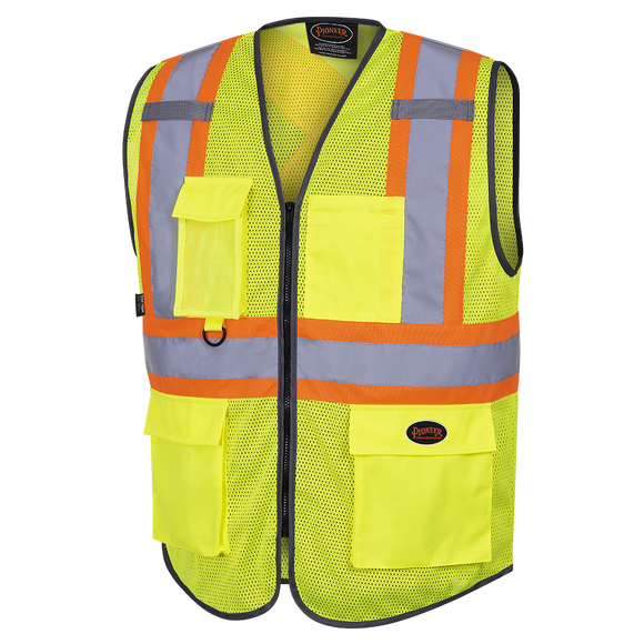 HI-VIZ ZIPPER FRONT MESH SAFETY VEST