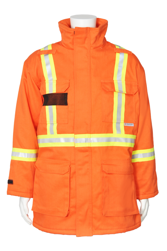 High visibility FR CSA striped insulated parka