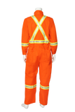 High visibility FR CSA striped coveralls back view