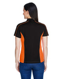 Ladies colour block polo orange back