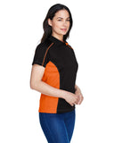Ladies colour block polo orange side