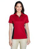 Ladies colour block polo red