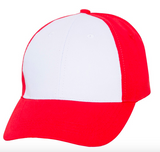 Red baseball cap with white front panel