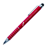 Red metal pen with stylus